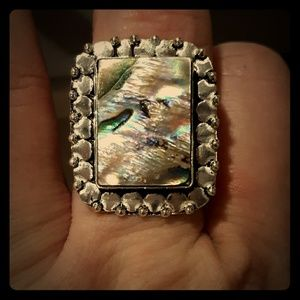 New Abalone Shell Silver Ring.  Size 9.25